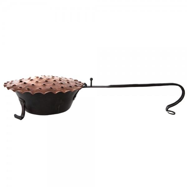 Räucherpfanne groß, aus Eisen, Deckel mit Löcher aus Kupfer