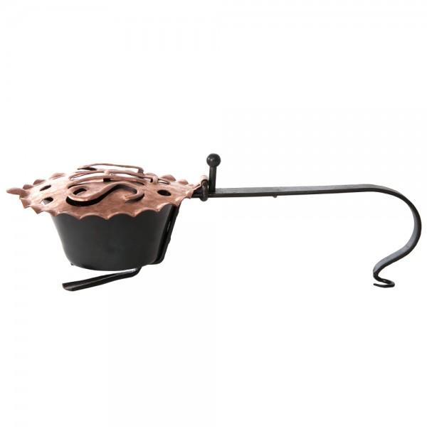 Räucherpfanne klein, aus Eisen mit Deckel IHS aus Messing