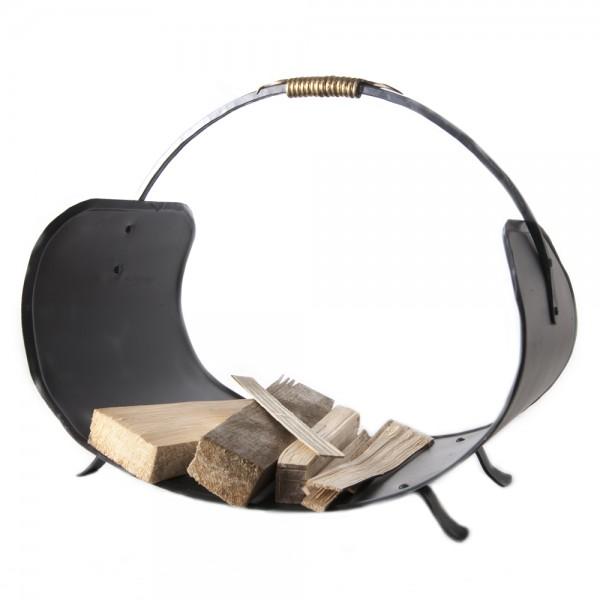 Holzkorb für Kaminofen aus Eisen geschmiedet und lackiert mit Griff aus Nirosta
