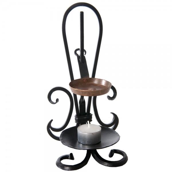 Kerzenleuchter mit Weihrauchtasse aus Eisen lackiert